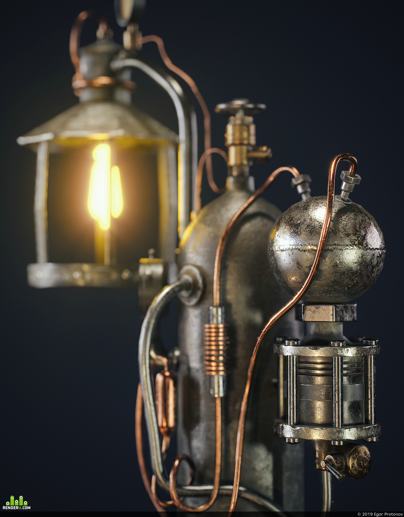 3d, game, art, Компьютерная графика/CG, Lamp, steampunk, Game props
