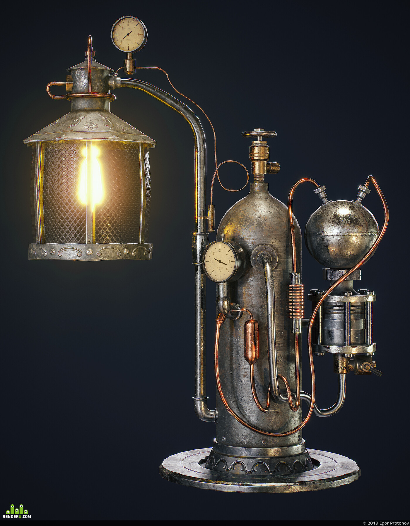 3d, CG, game art, Lamp, Game prop, 3d modeling, steampunk art