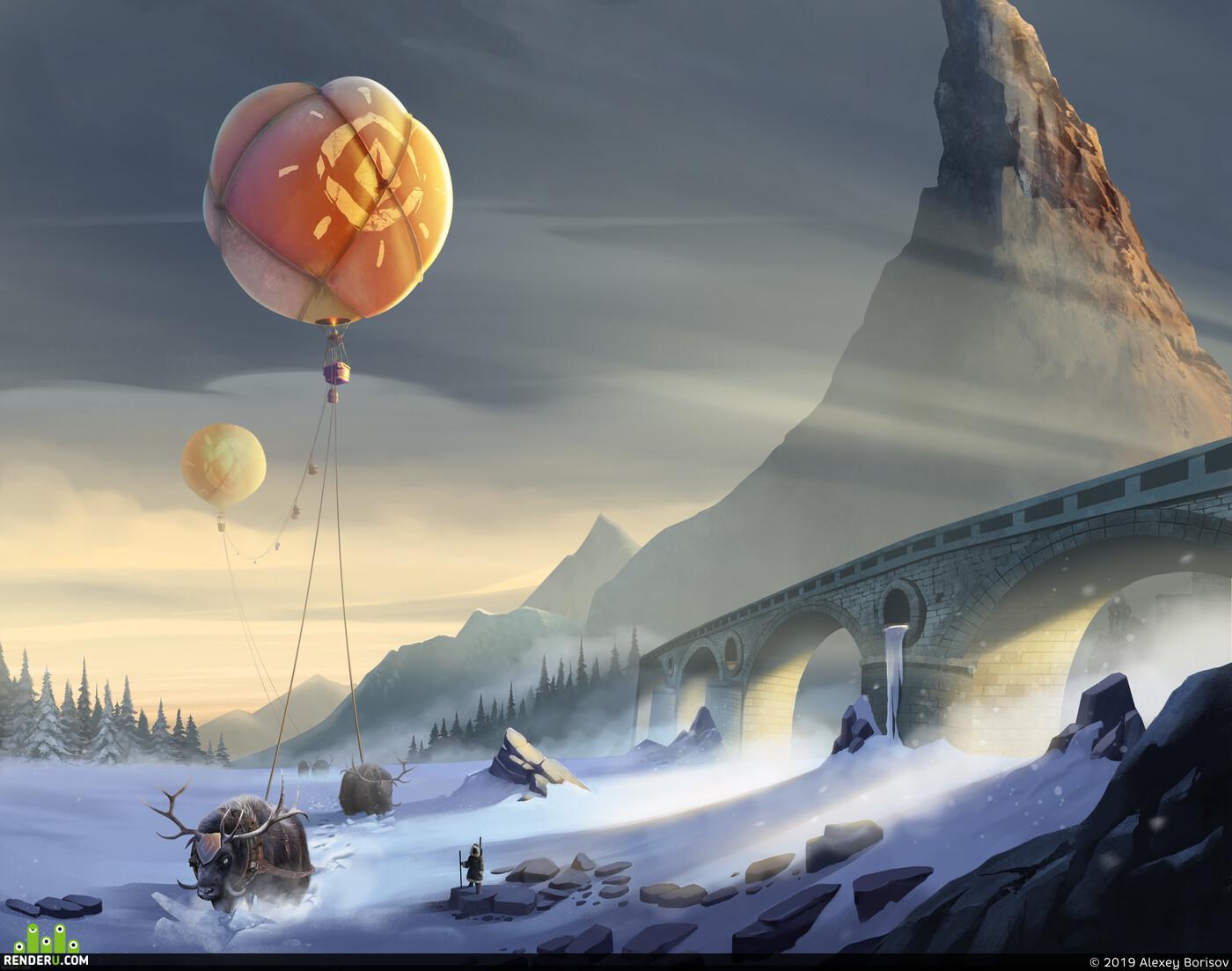 baloon, iceworld, mountain, постапокалипсис, мороз, Караван, осколкистарогомира, закат, север, north