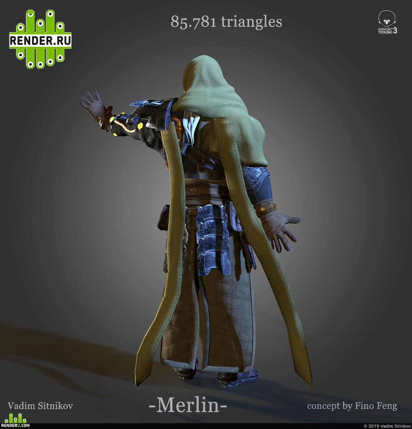 3d character, мерлин