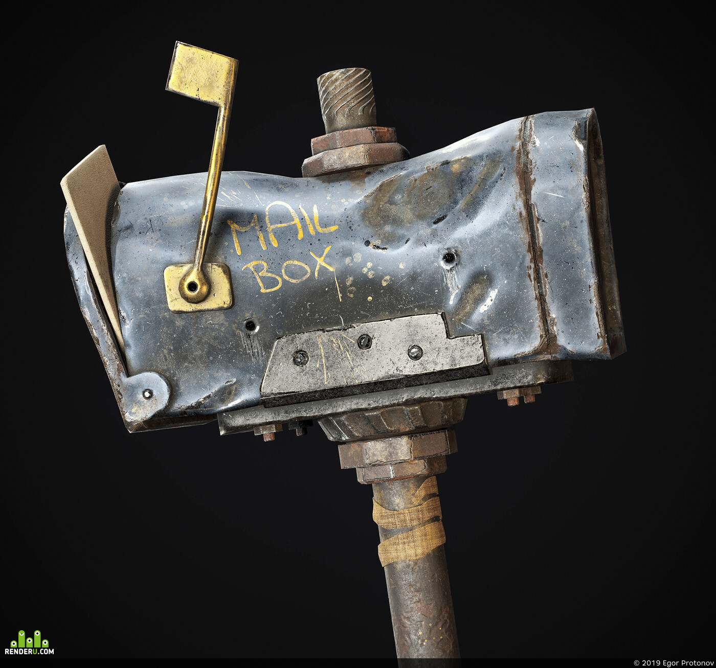3d, CG, game art, mail box, PBR, Game Low-poly