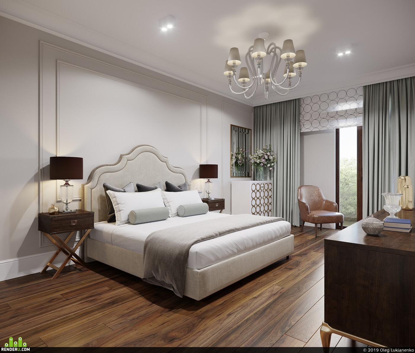 Спальня, дикарт, классика, синий, лепнина, 3dsmax, 3dmax, corona, ps, moscow, dicart