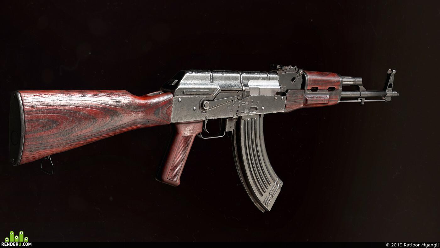 АКМ, автомат, оружие, калашников, винтовка, лоуполи, игровая модель