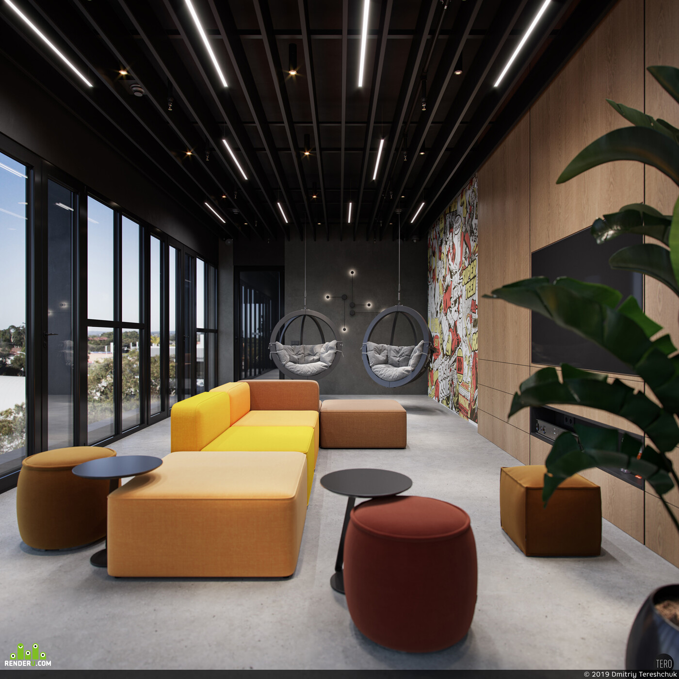modern office, office design, Office bilding rendering, coronarender