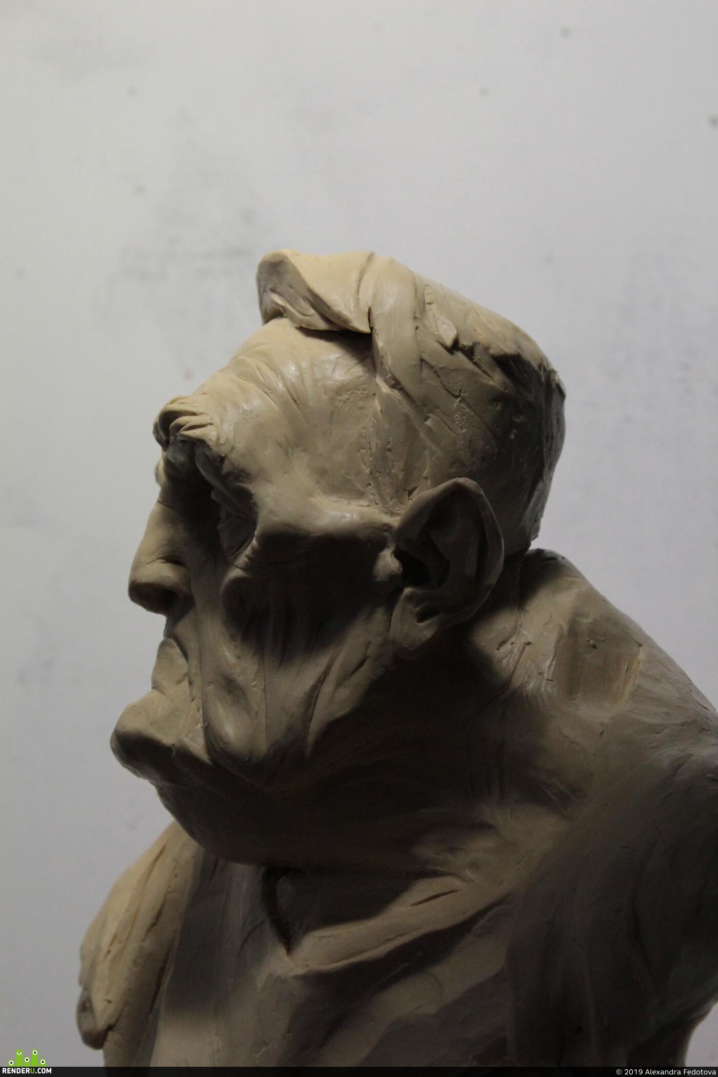 Портрет, пожилой, дедушка, пластилин, традиционное искусство, скульптура, лепка, традиционная лепка