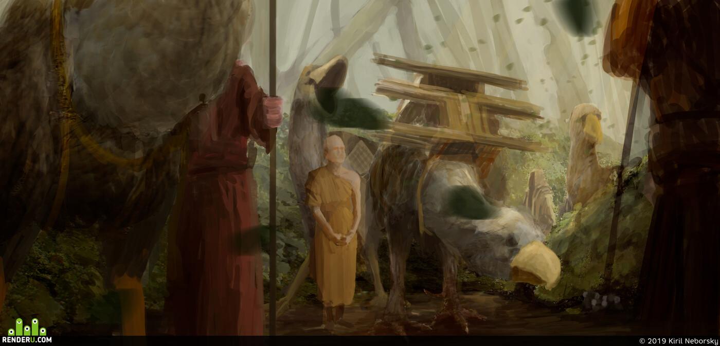 монах, птица, лес