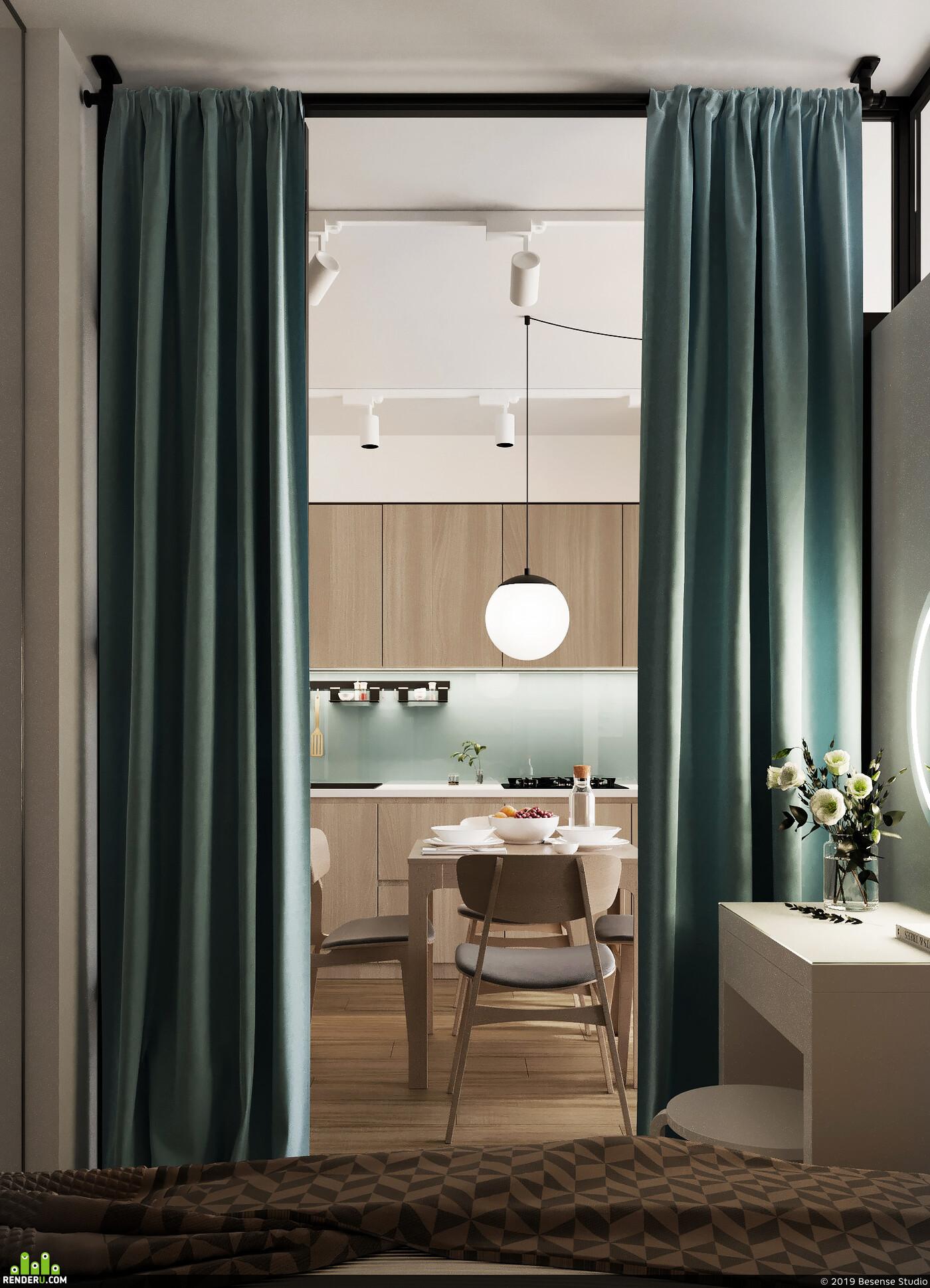 малогабаритная квартира, мини-квартира, Квартира, однокомнатная квартира, перепланировка, дизайн интерьера, дизайн интерьера спальни, дизайн интерьера 3д визуализация, Спальня, гостиная