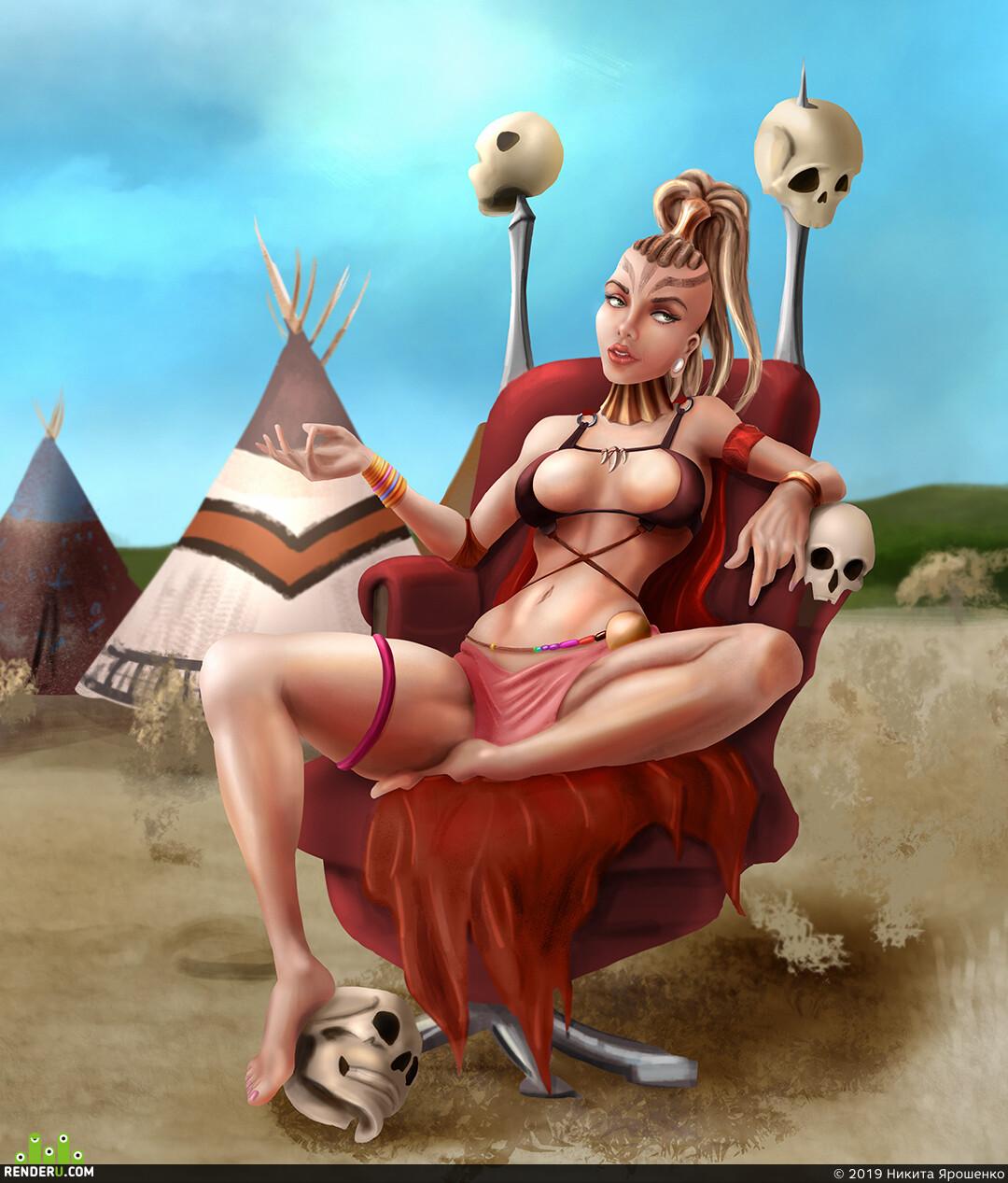 female, fallout, tribal