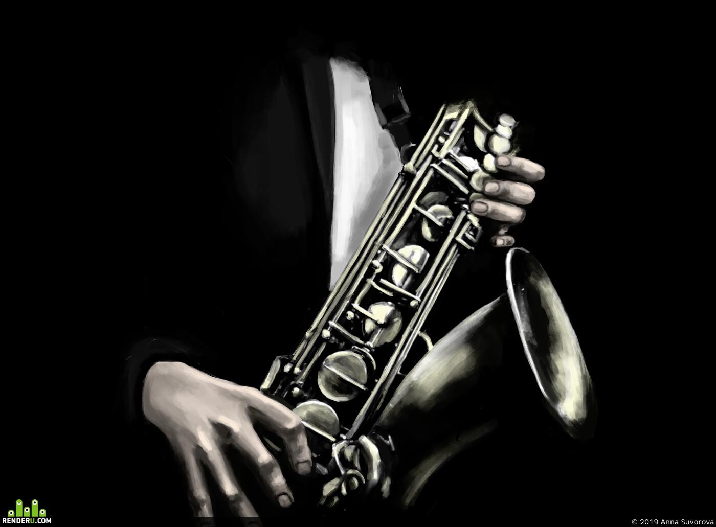 саксофон, Krita 4.2, музыкант, музыка