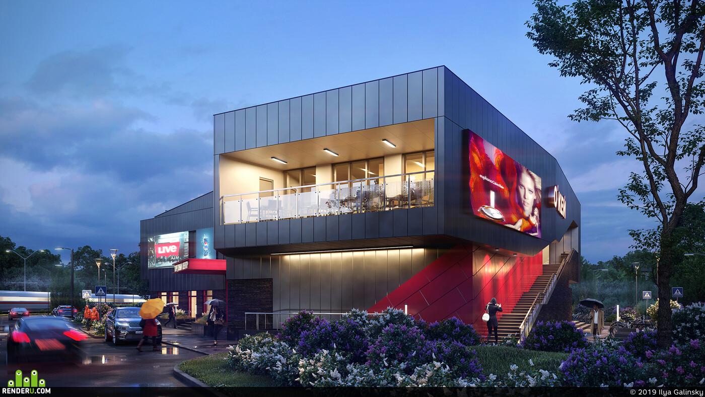 Exterior architecture, exterior visualization, archviz, 3ds Max, Corona Renderer, Photoshop
