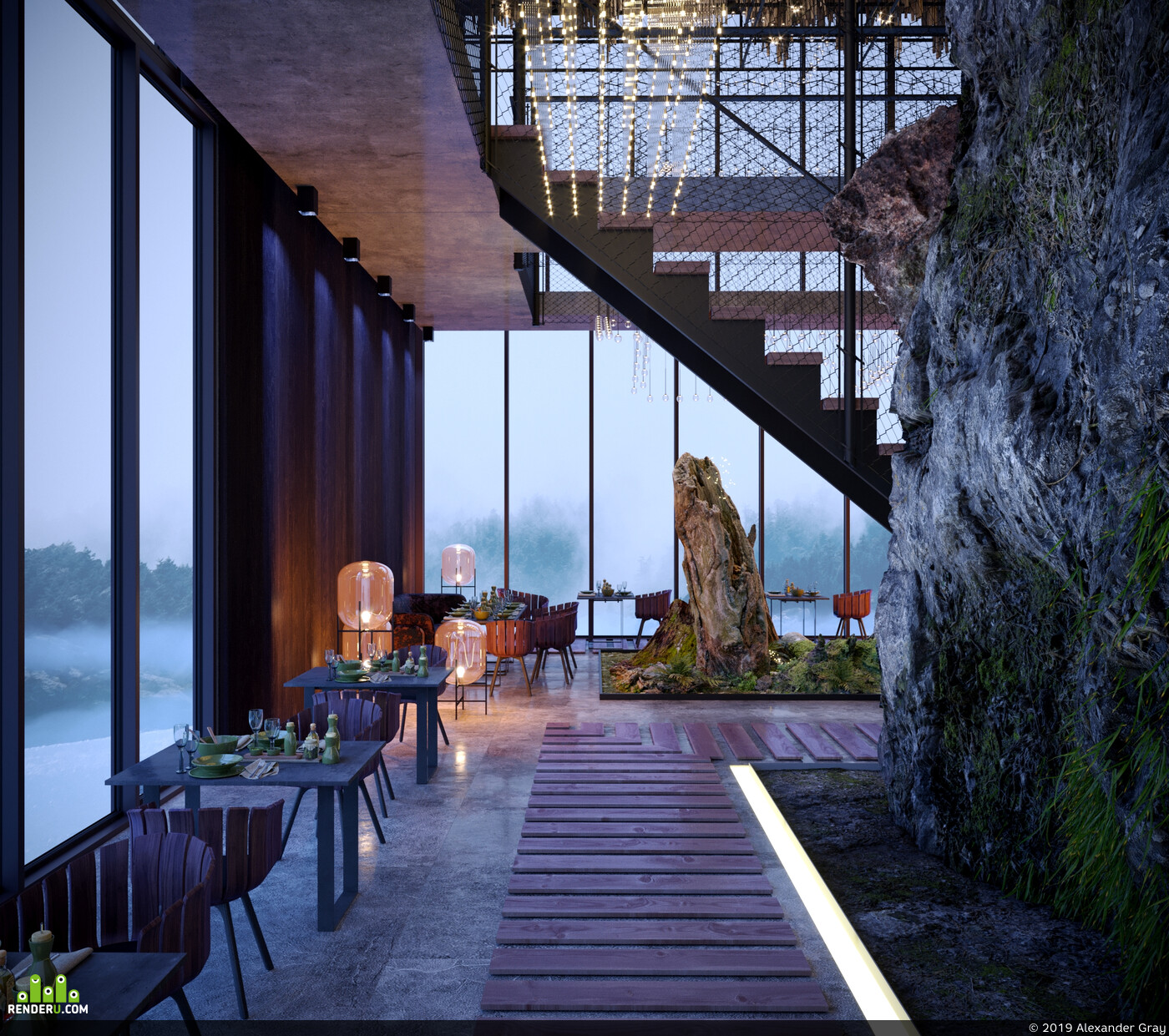 visualization, corona, 3dmax, furniture, design, decor, modern, interior, rocks
