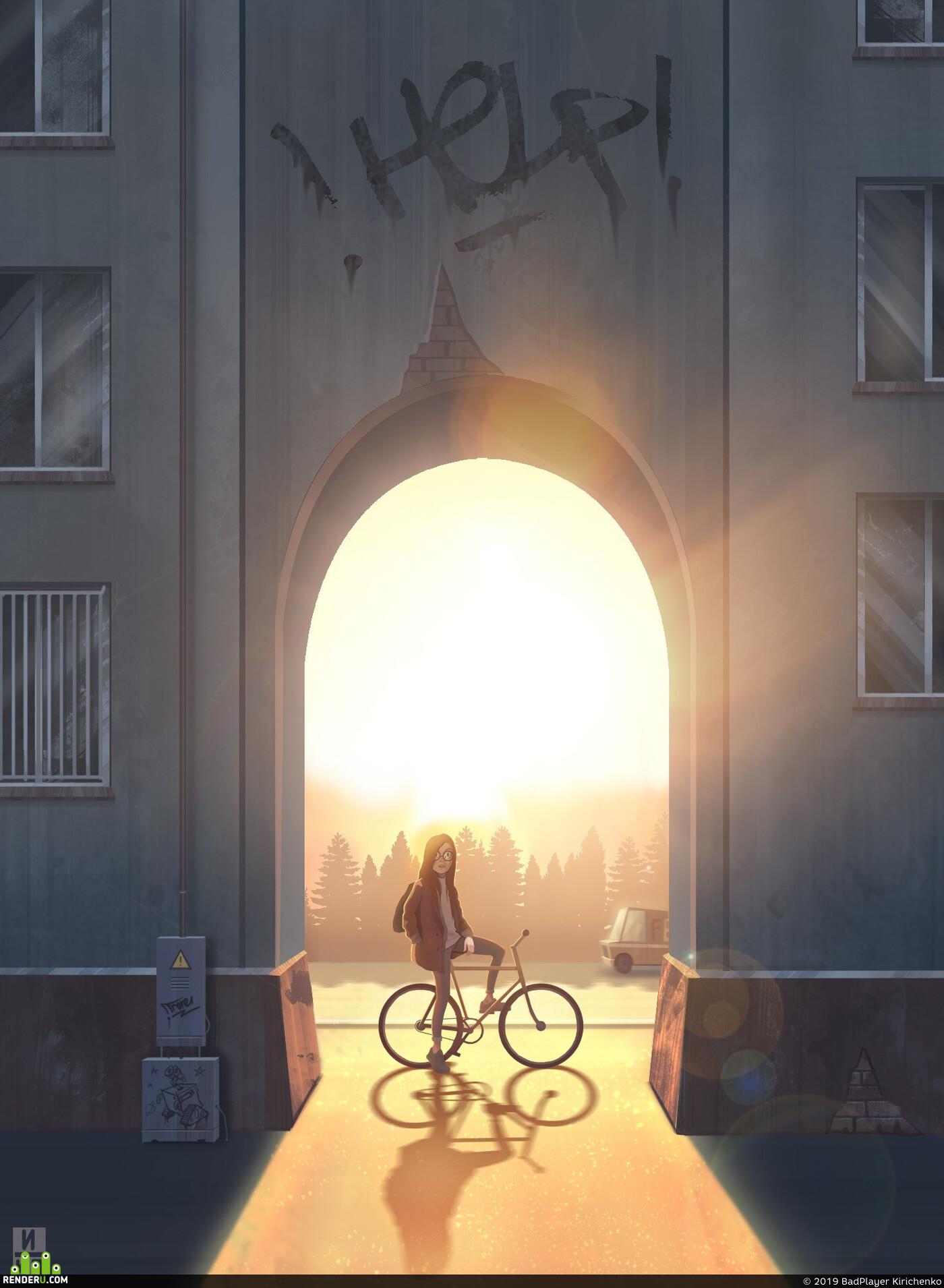 девушка, Город, закат, арка