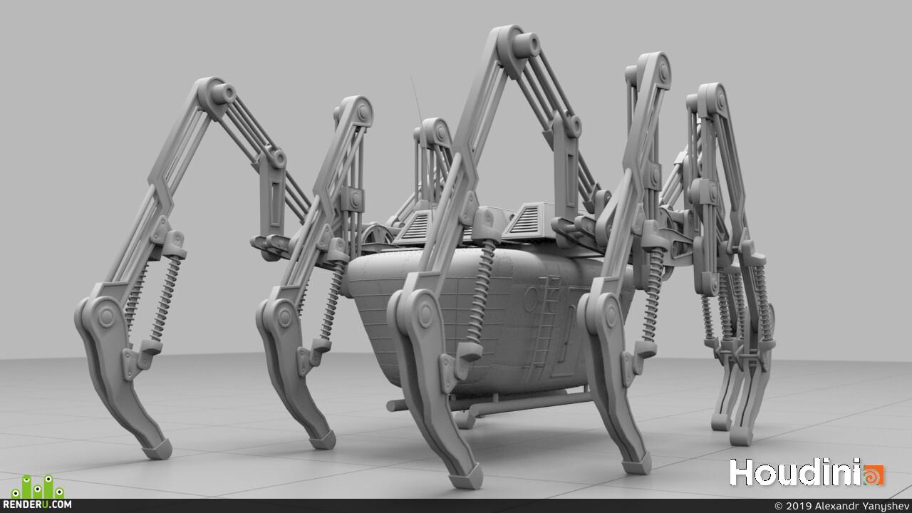 Гудини, механиз, механика, робот, динамика, Houdini, mechanism, процедурно