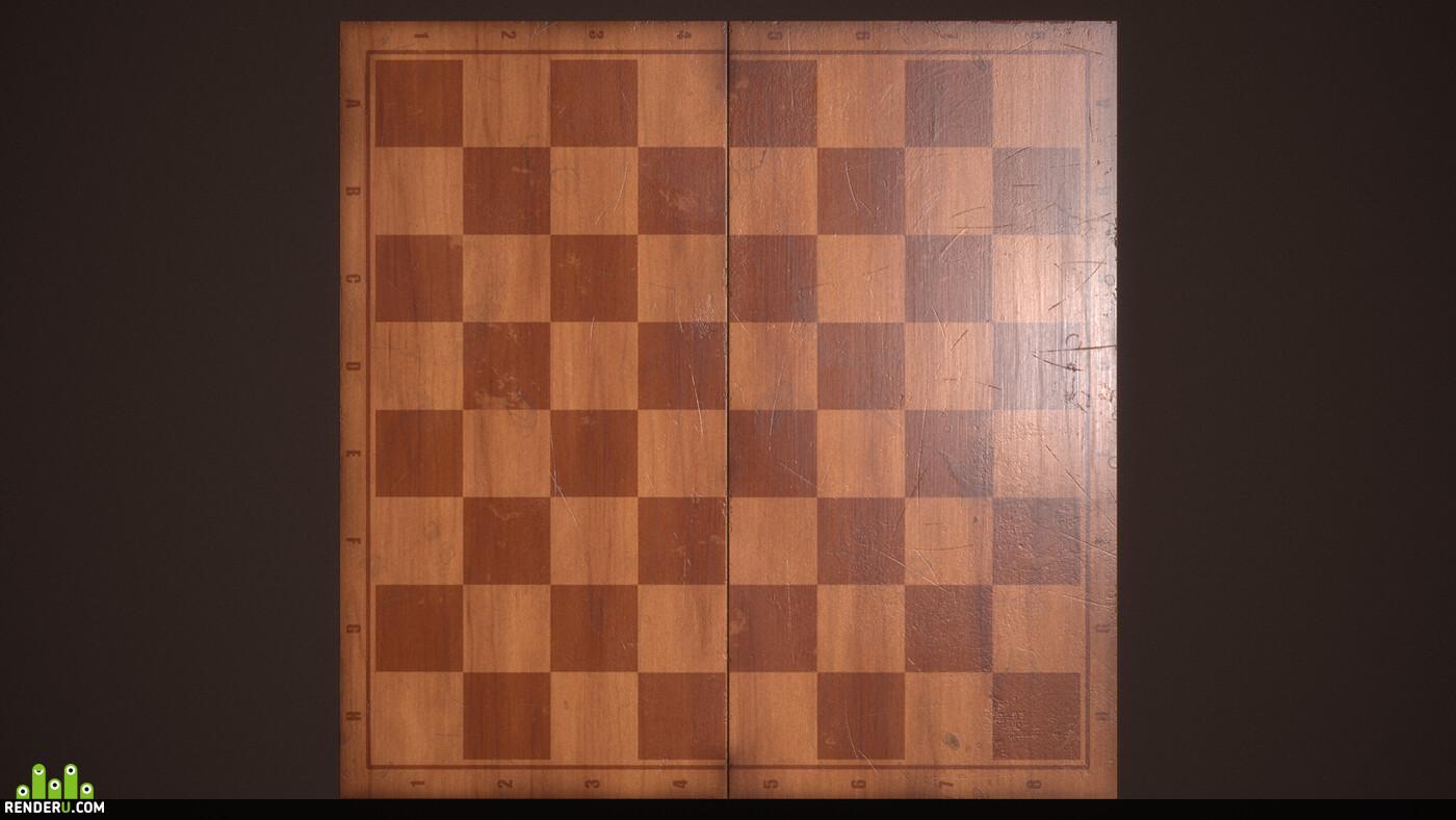 Шахматы, Игры, PBR, текстуры, lowpoly, low poly