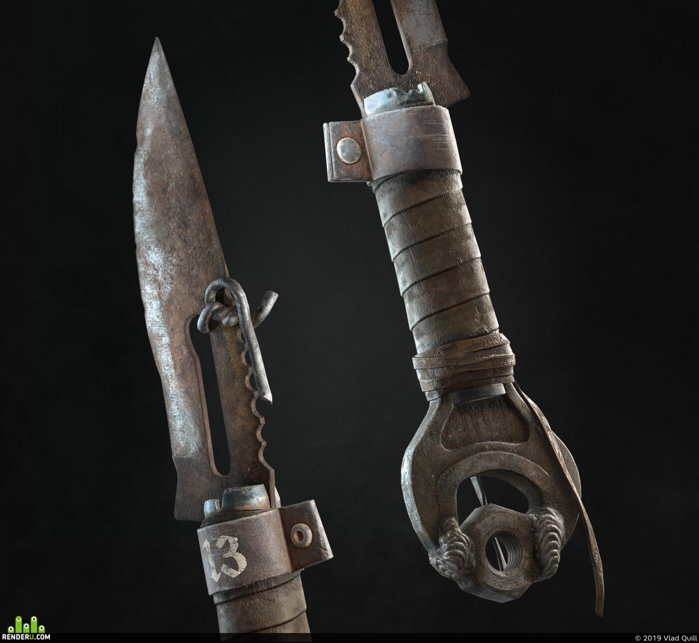 Компьютерная графика/CG, 3d, lowpoly, postapocalyptic, knife