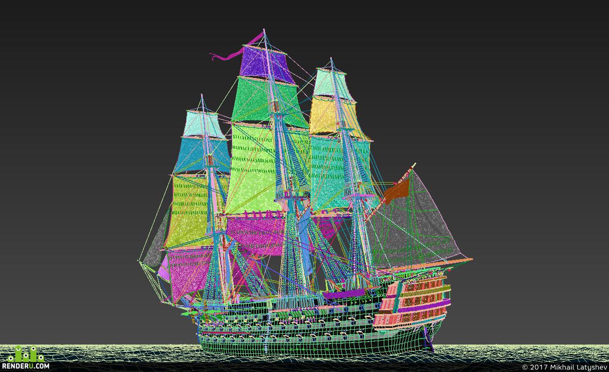 корабль, парусник, море