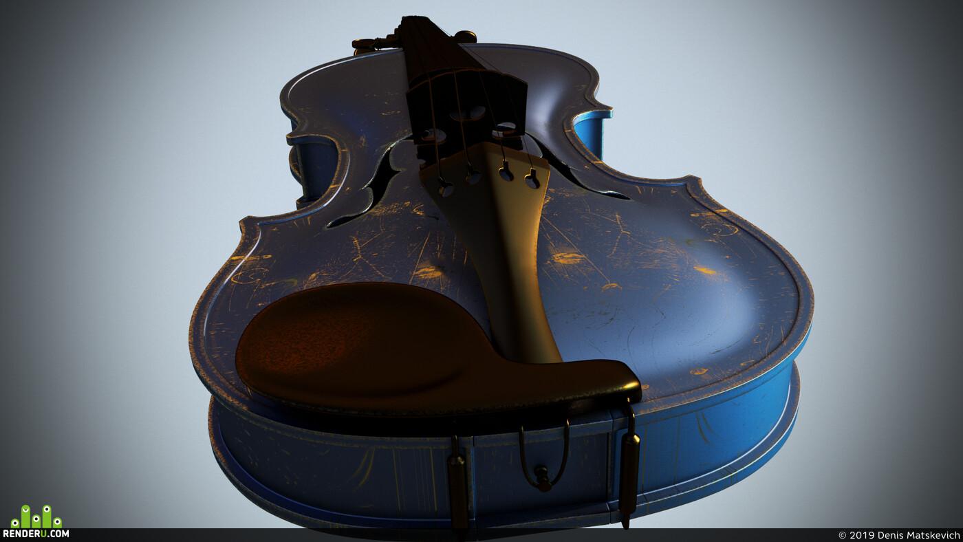 violin, Cinema 4D, render-art, Redshift
