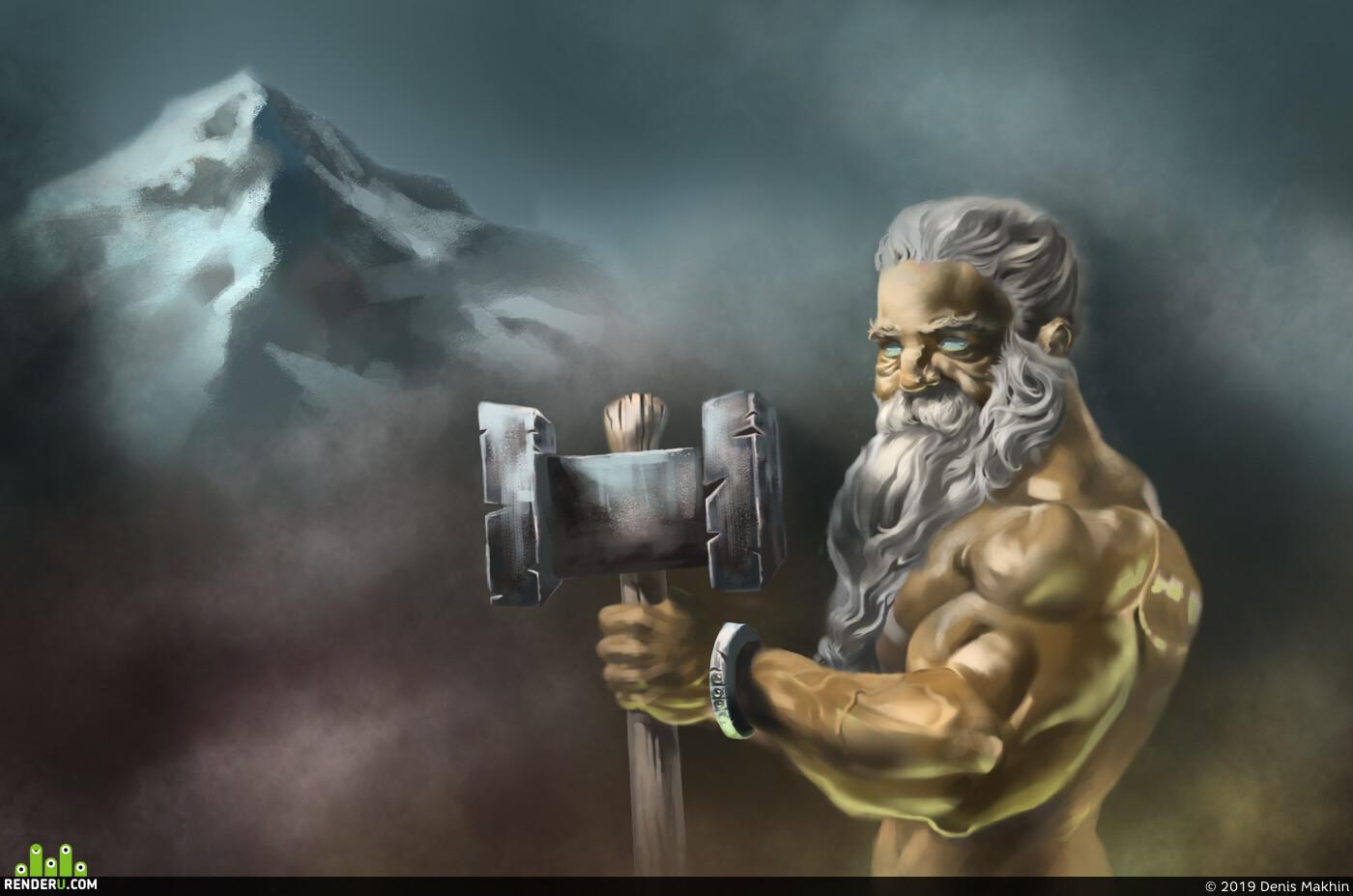 Dwarf, hammer, smile