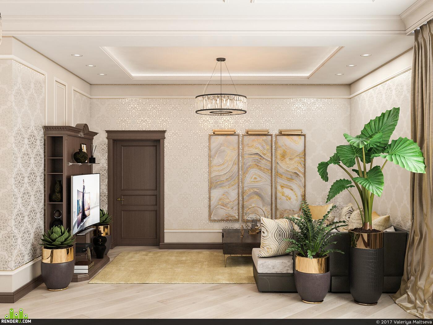 интерьер, дизайн интерьера, 3д визуализация, Спальня, гостиная, 3D Studio Max, классика, классический, классический стиль