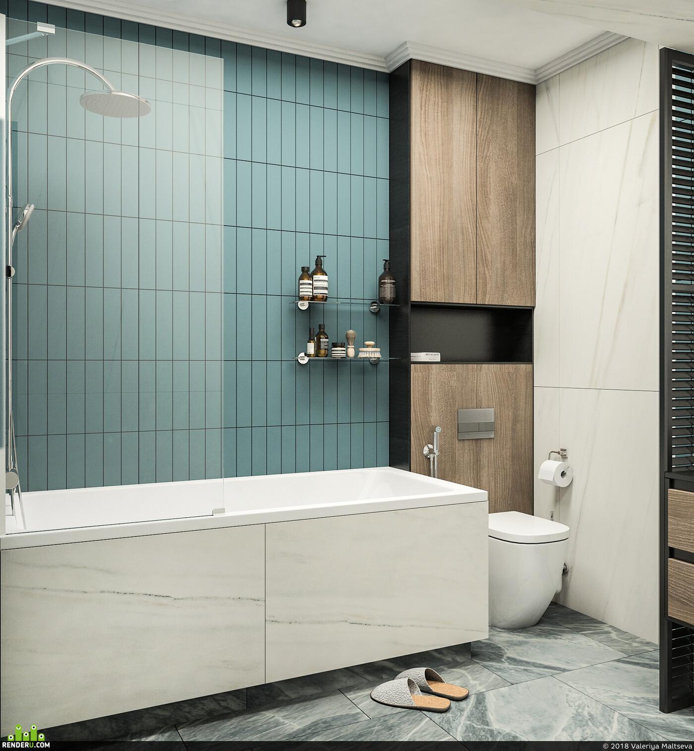 интерьер, дизайн интерьера, 3д визуализация интерьера, интерьер ванной комнаты, ванная комната, санузел, 3D Studio Max