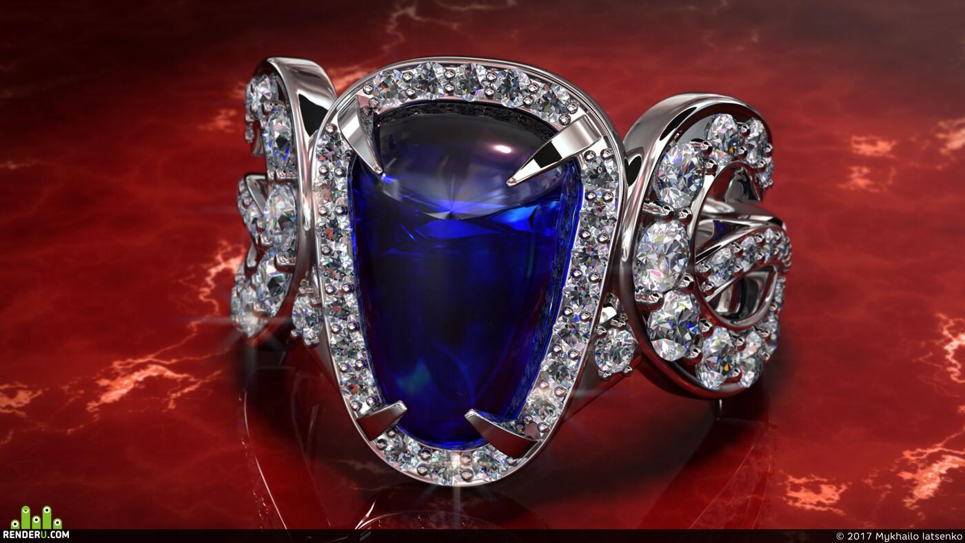золото, бриллианты, 3д визуализация, ювелирные украшения, кольцо