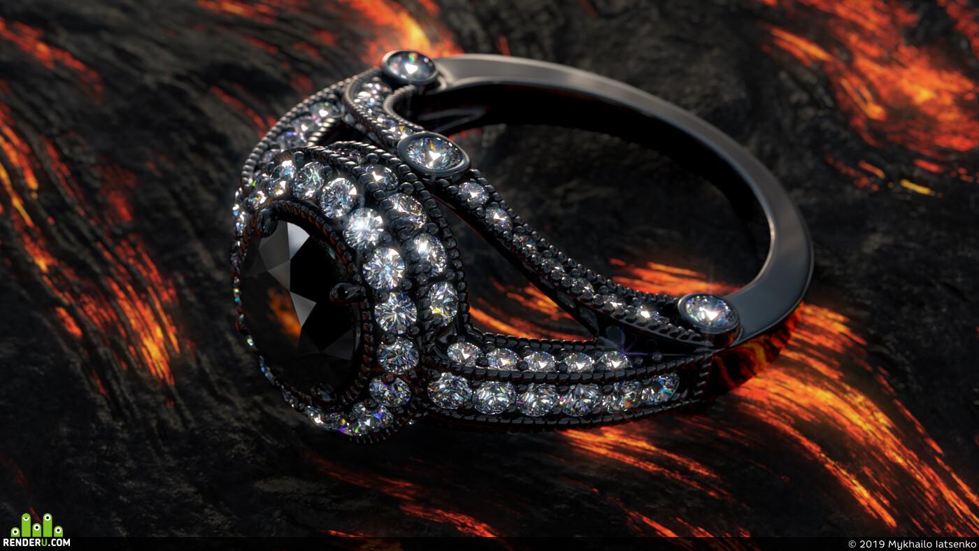 кольцо, бриллианты, золото, ювелирные украшения, 3д визуализация