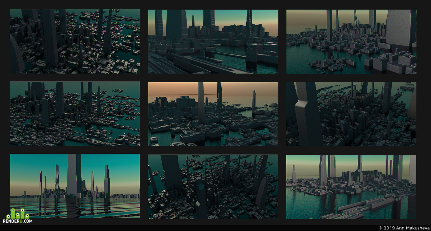 environment design, night city, concept-art, environment artist