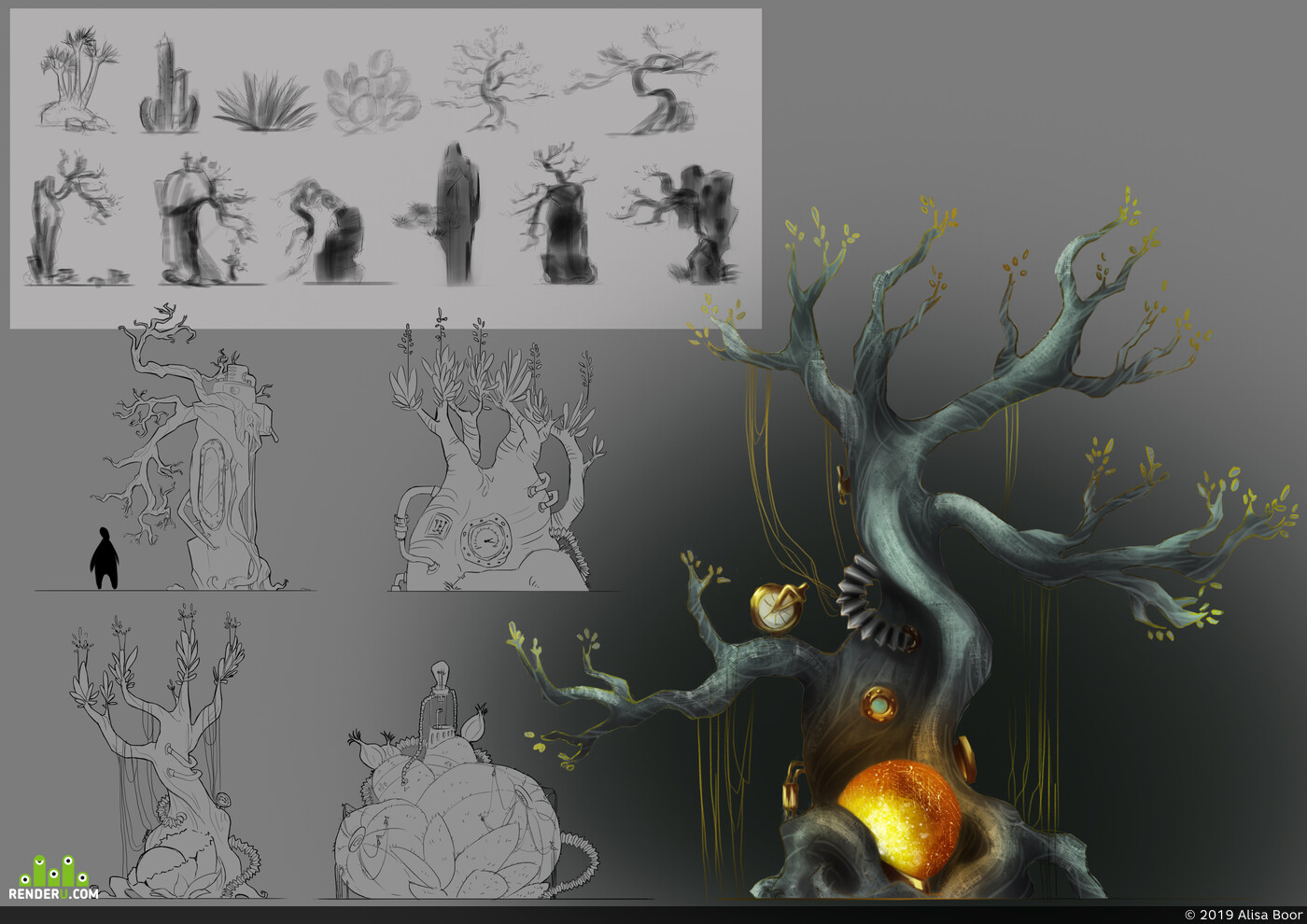 concept-art, trees, Environments, 2D