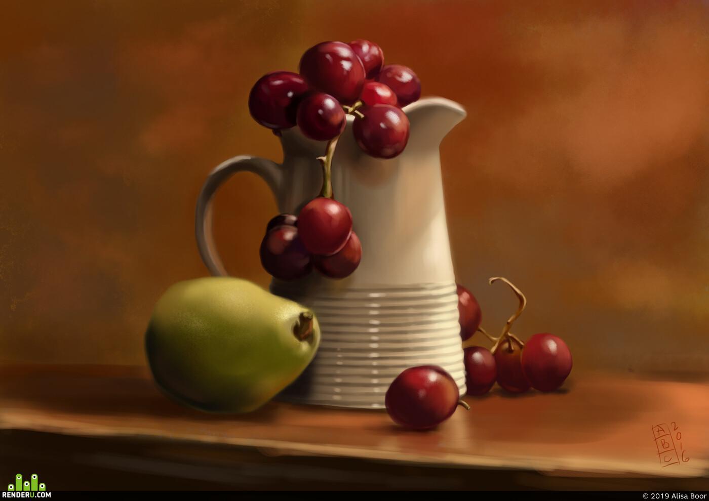 still-life, practice, art, DIgital painting