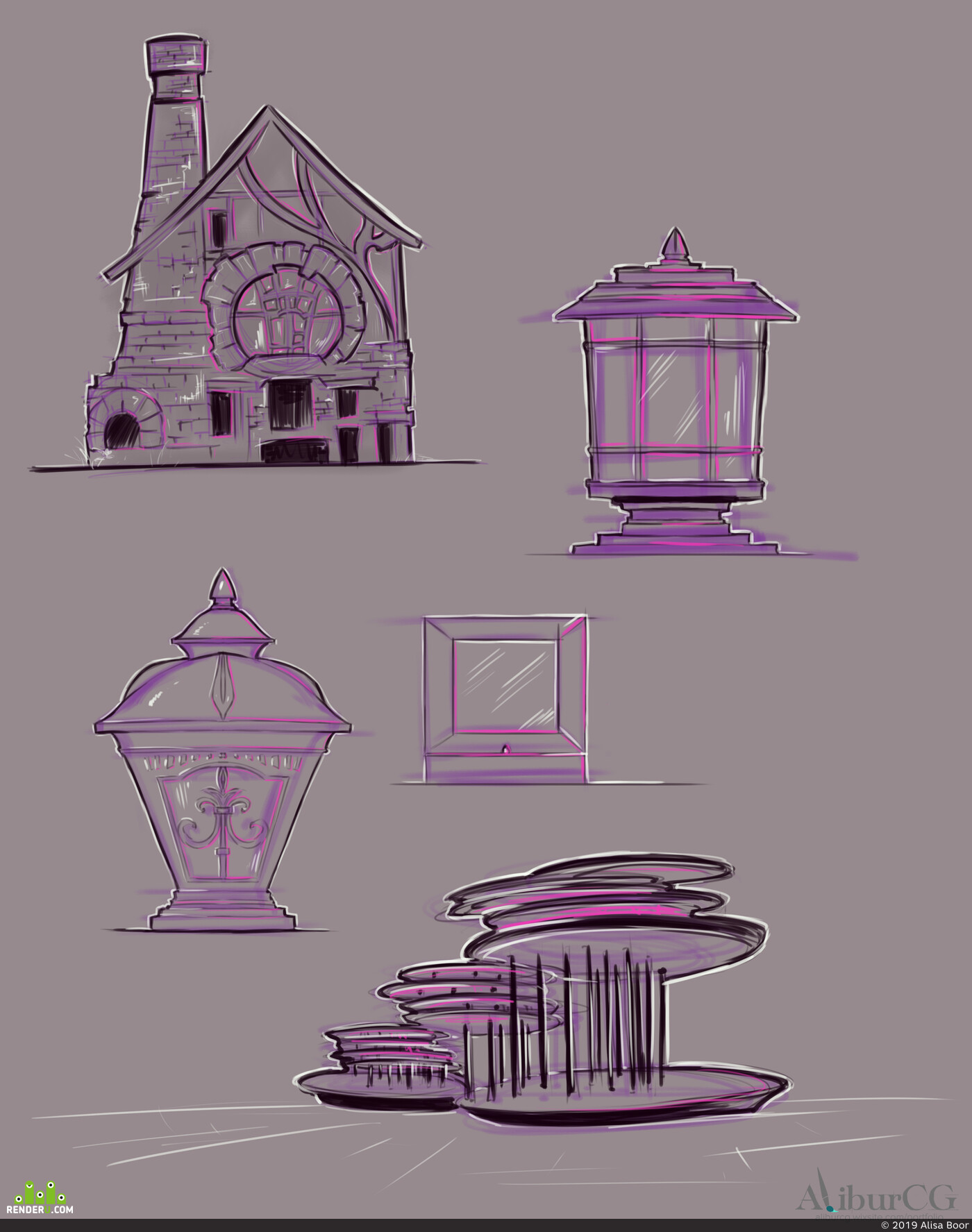 sketching, Sketches, digital sketching, everyday sketch, environment desigh, Environments, environment practice