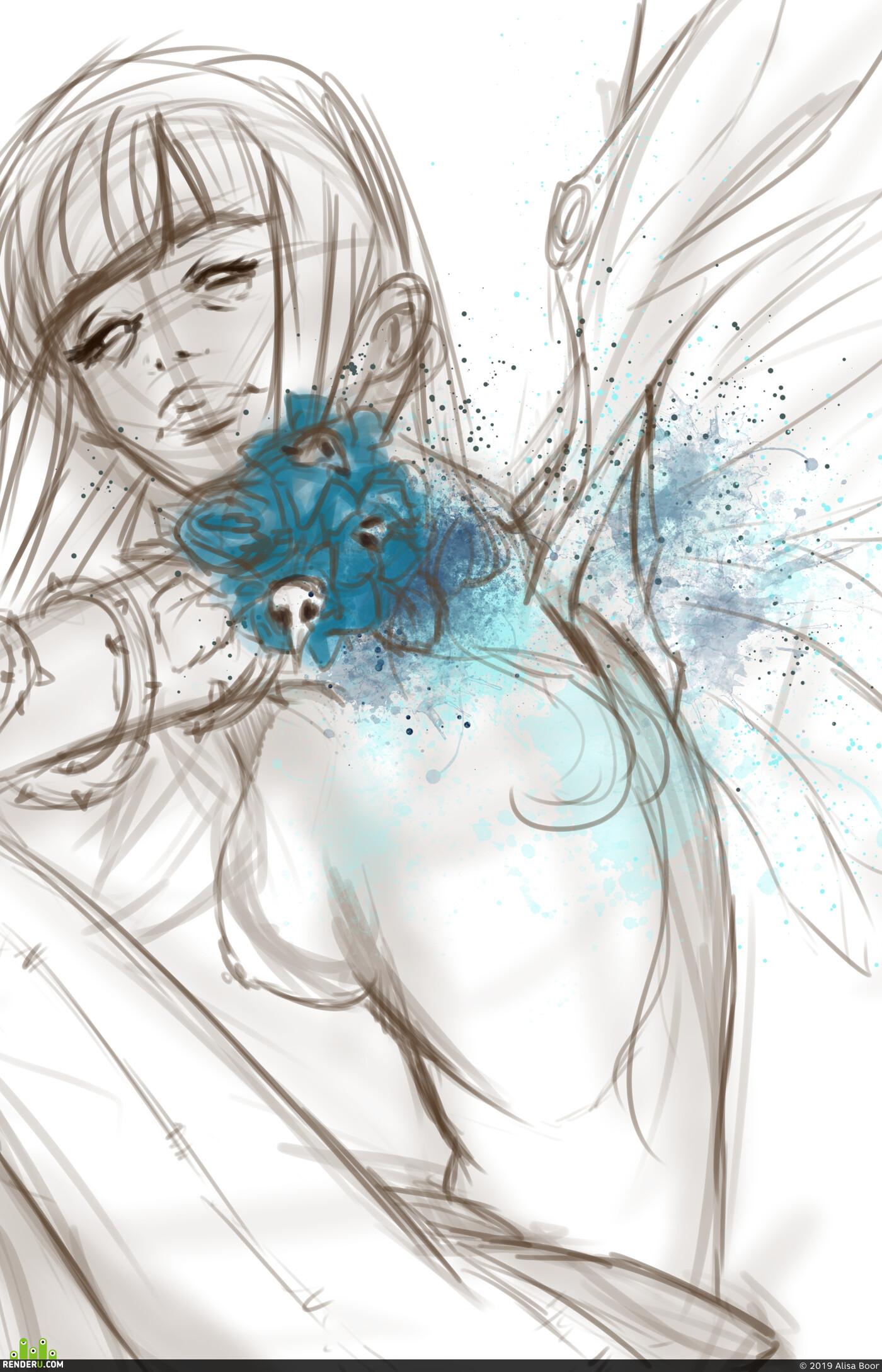 sketching, Sketches, digital sketching, everyday sketch, creature, creatures, girl, girls, girlportrait, girlpainting