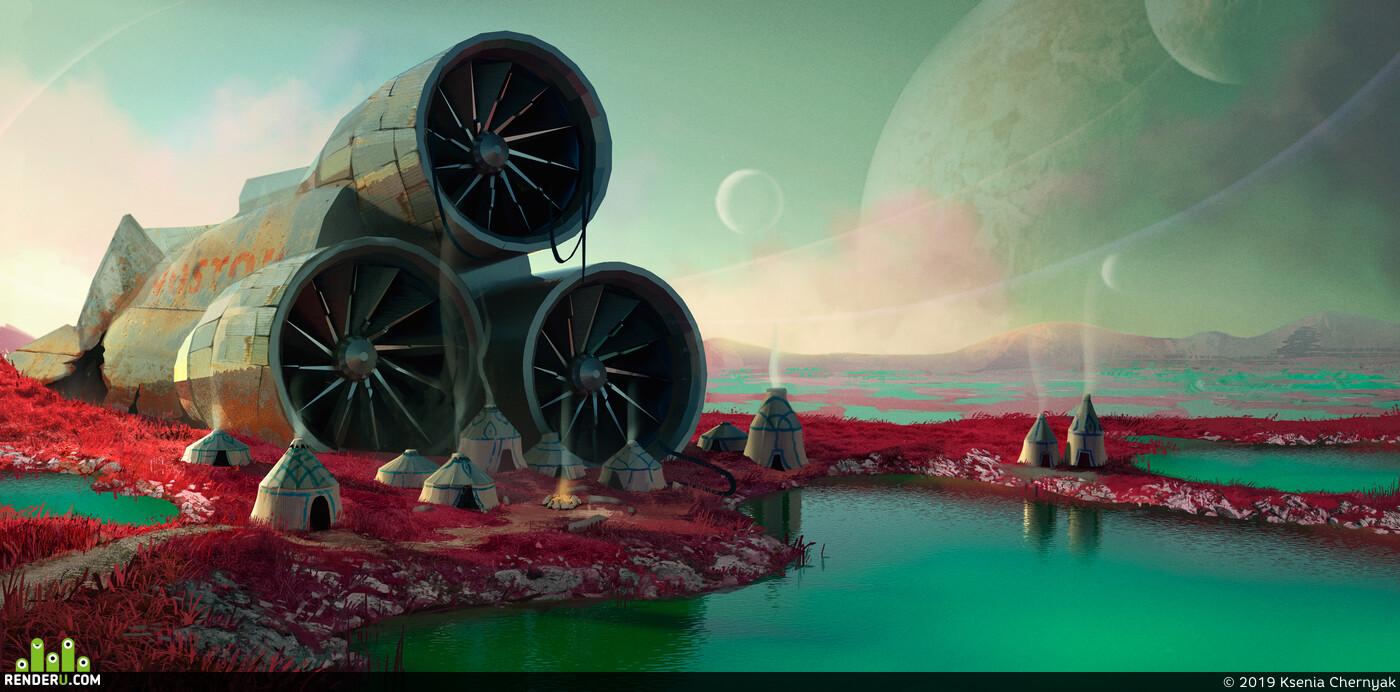 environment desigh, Concept Art, sci-fi, space ship