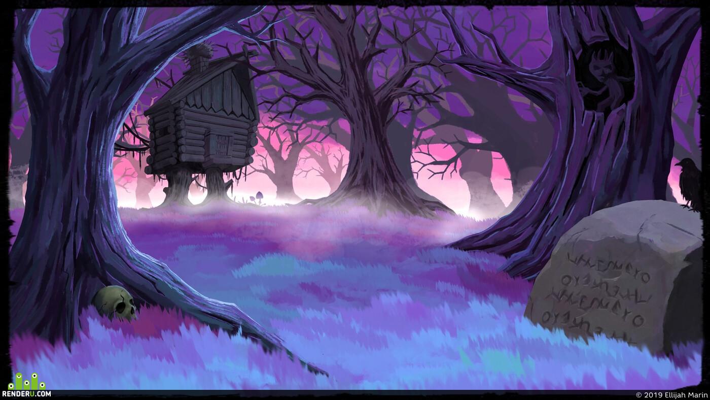 избушка, темный лес, Сказка