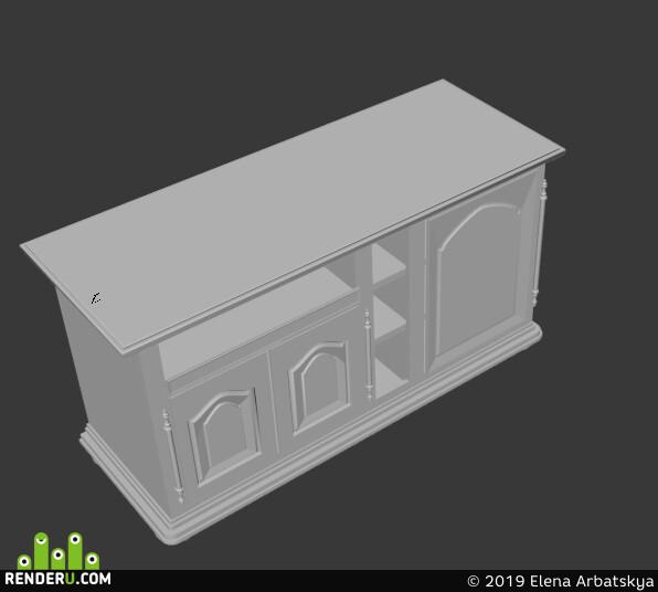 стол, стул, тумба, шкаф, люстра, диван, 3d модель, 3d модель квартиры, 3ds Max, пряник