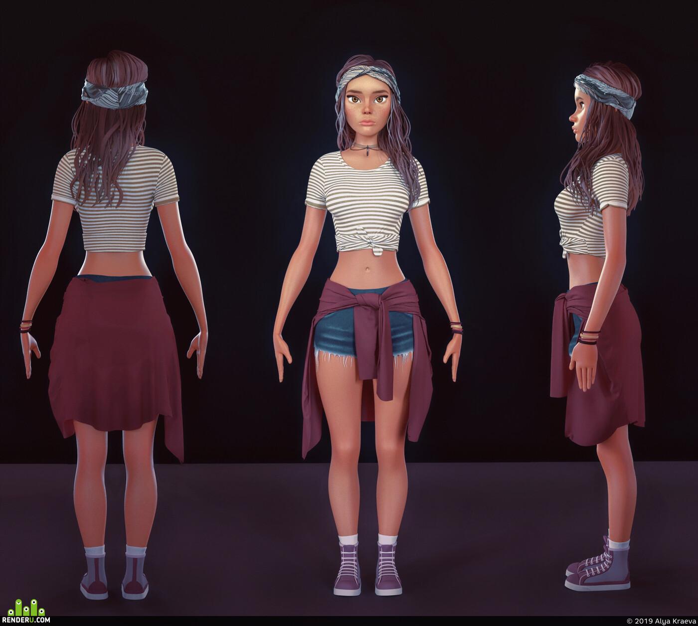 girl, 3d character