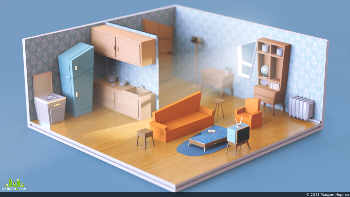 Maya, Redshift, 3d, изометрия, комната, интерьер, коронарендер