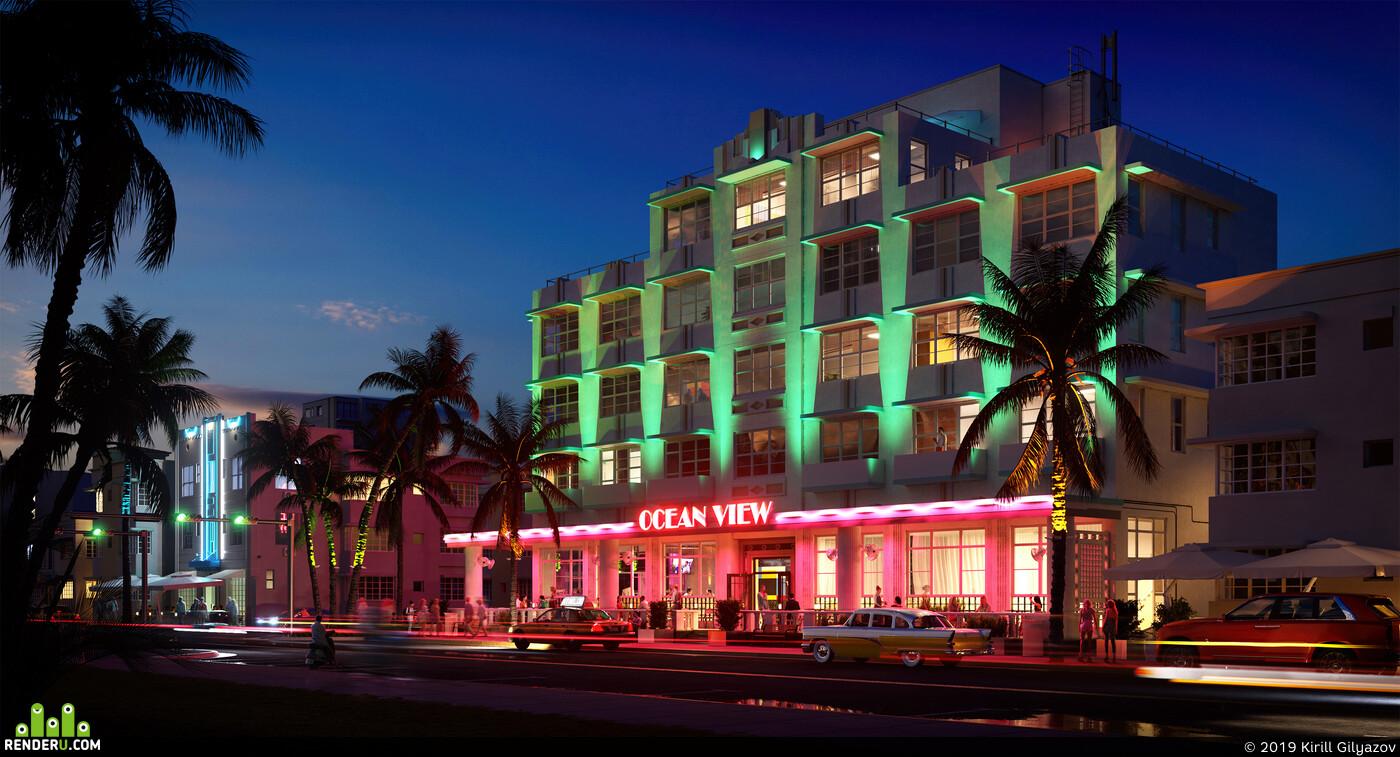 gta, Vice City, Miami, night, rain, dawn, exterior visualization, long exposure, fanart, game art