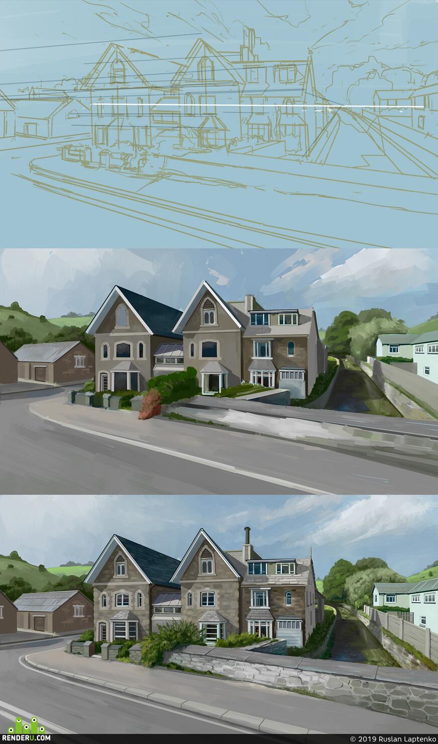 Загородный дом, речка, стадик, рисунок, 2д эскиз