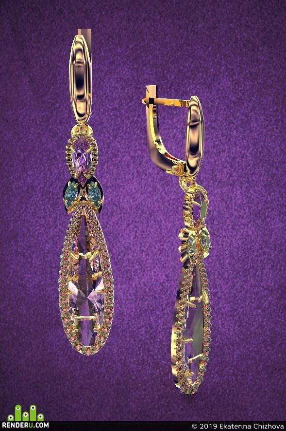 jewelry 3d, jewelry modeling, jewerly, rendering, golden, gems, Серьги, кострома, ювелирные украшения, ювелирка