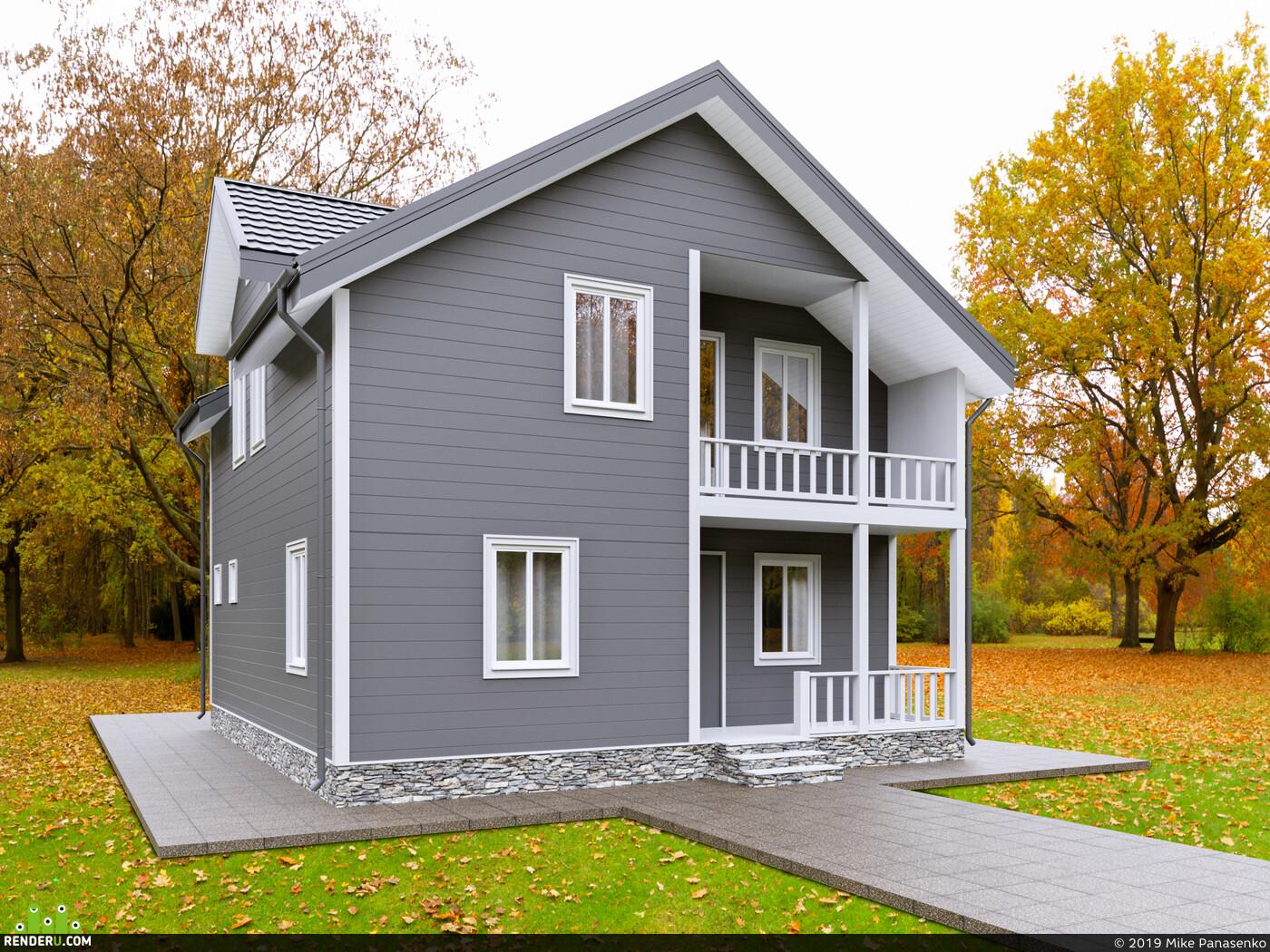 коттедж, 3D архитектура, архитектурная визуализация