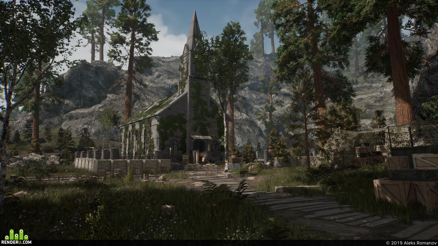 Уровень, игровой уровень, пост апокалипсис, уровень игры, Unreal Engine, unreal, unrealengine4