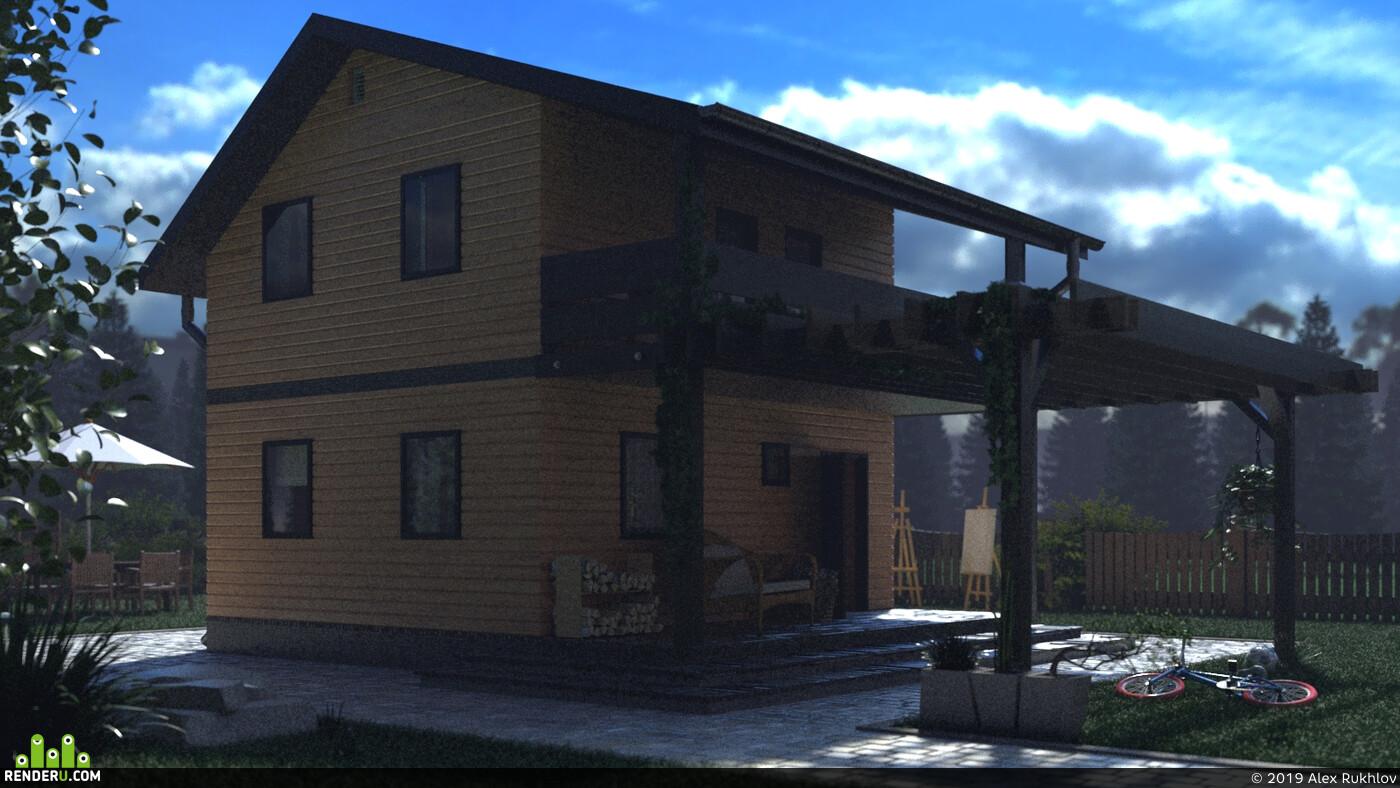 частный дом, Загородный дом, Дом из бруса