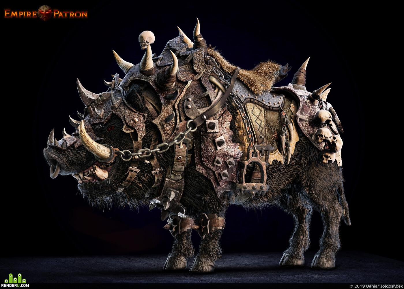 war boar, ZBrush, creatures