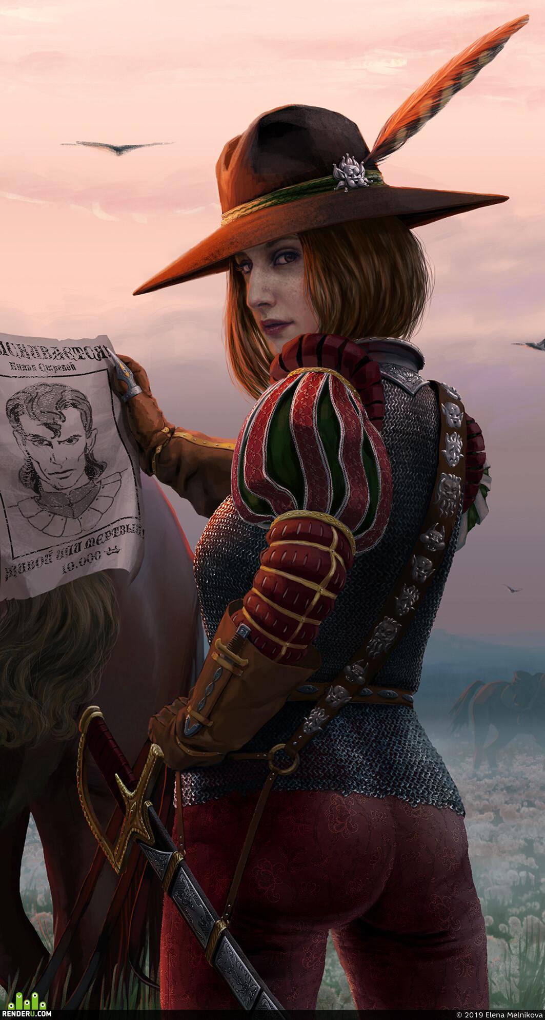 bountyhunter, captive, Characters, cowboyhat, dandelions, dawn, Fantasy, gameart, horse, feael