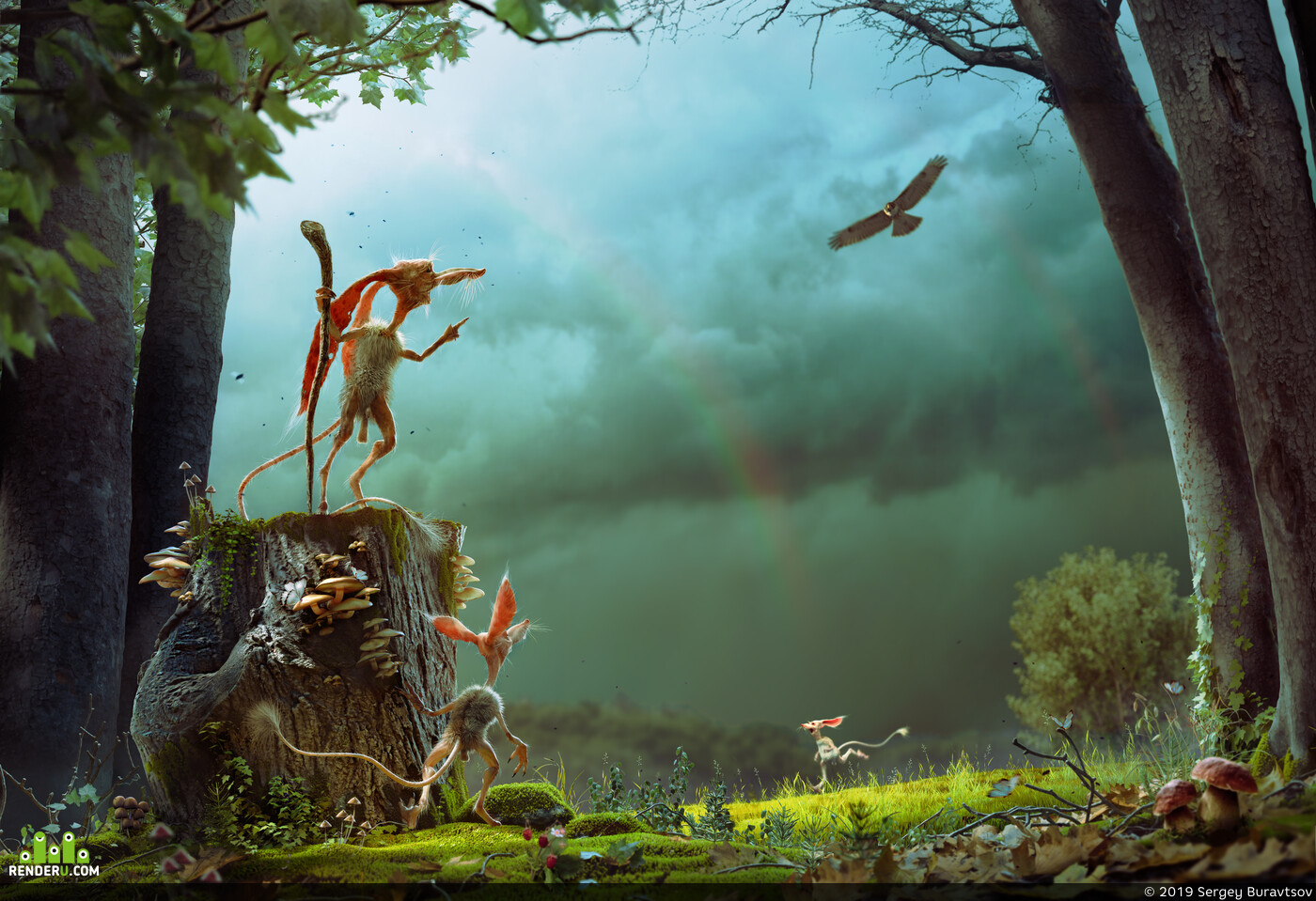 cgi, rain, creature, forest, pipidon, beforethestorm