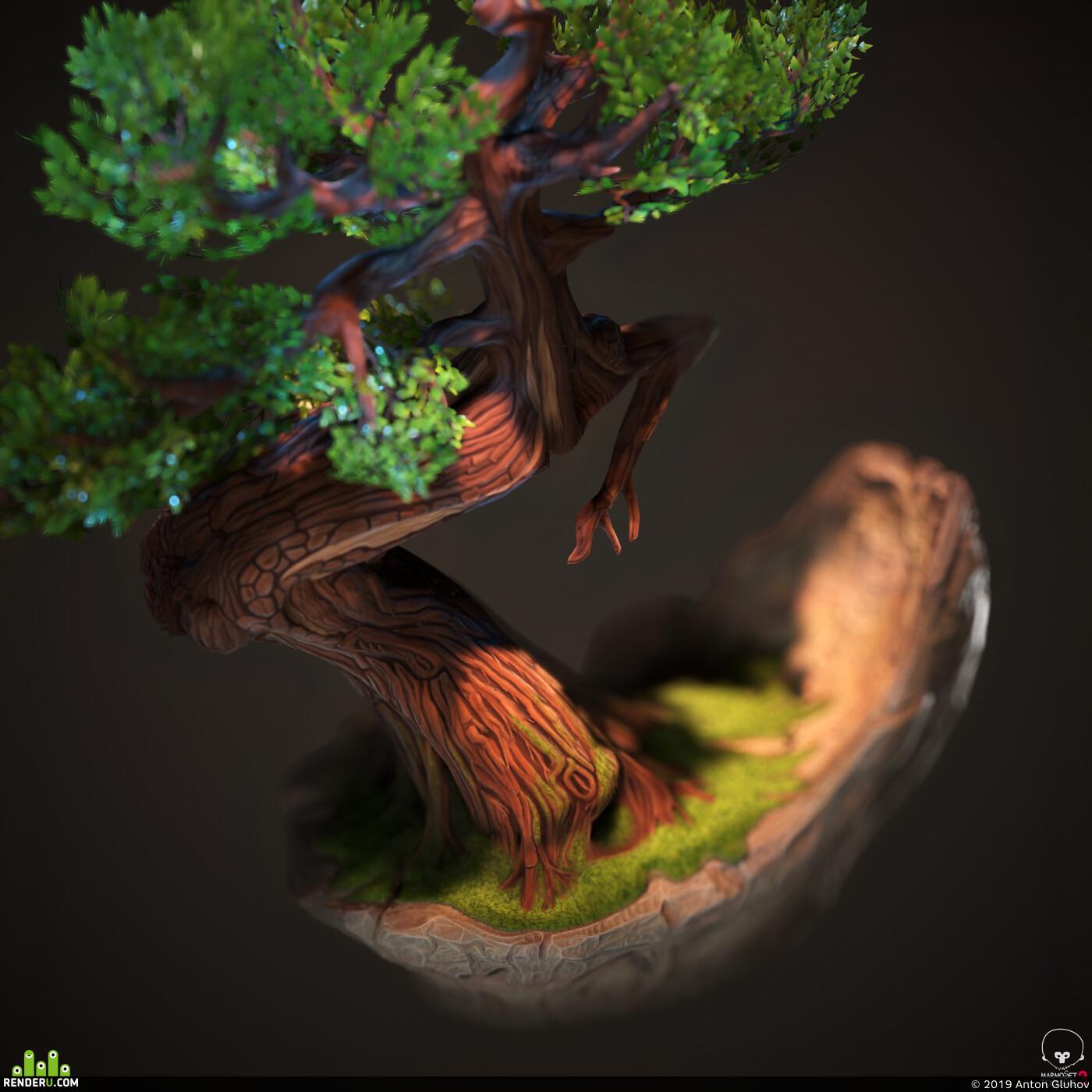 bonsai, tree, stylized, PBR, handpainted