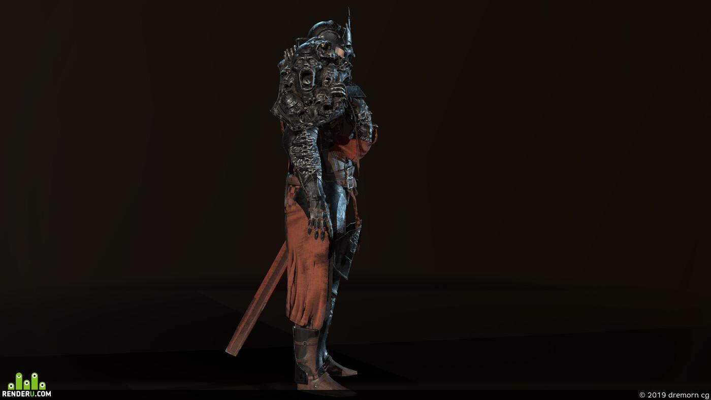 crusader, knight, human, DarkKnight, death knight, People, medieval, Fantasy, fighter, Character