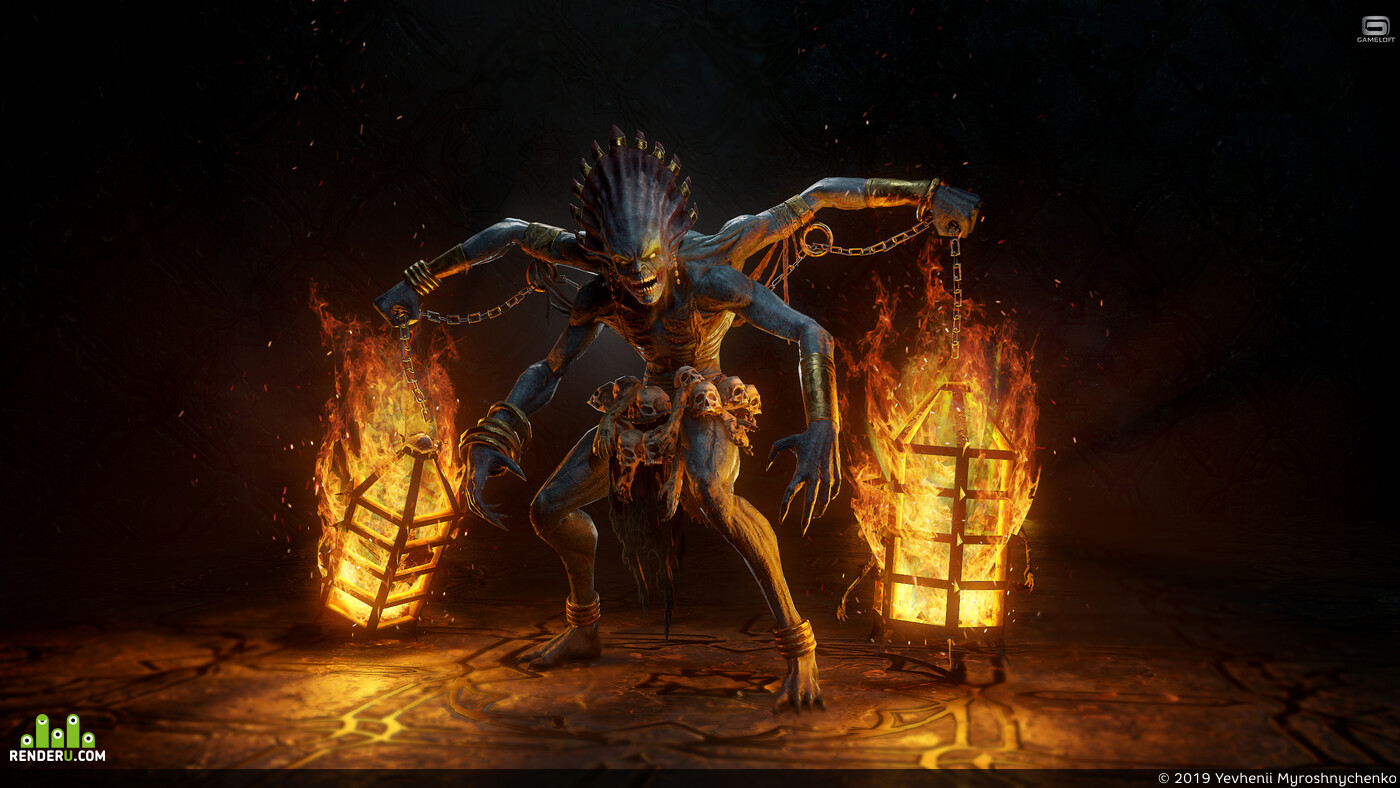 fire, 3d characher, creatures