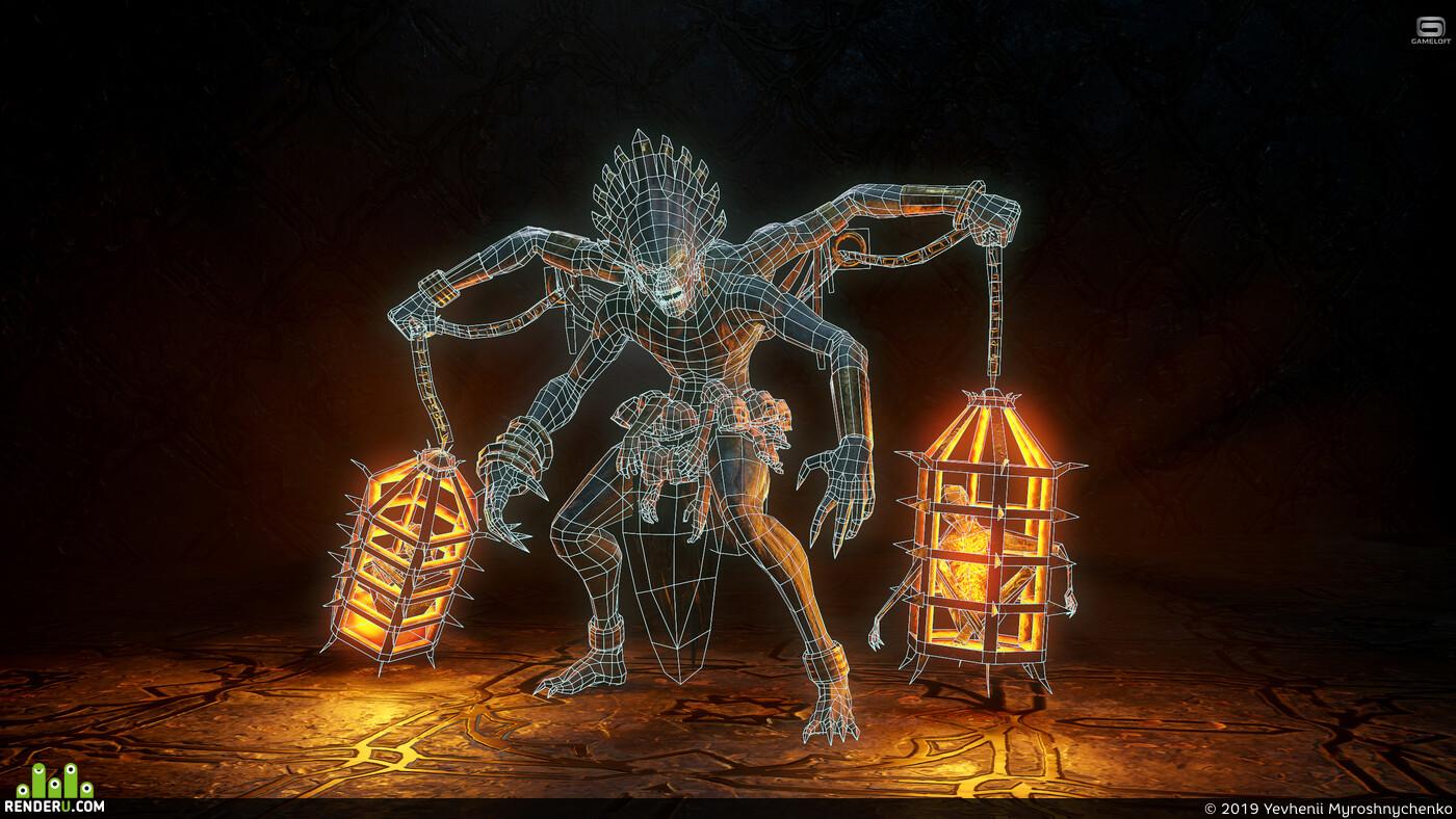 огонь, 3д персонаж, существо