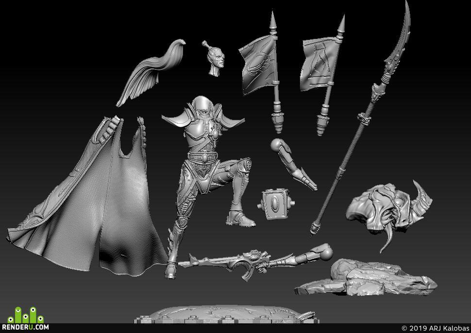 Warhammer, Warhammer 40000, Warhammer40k, miniature, 3dprintring, 3dпечать, Миниатюра, Вархаммер40к, Prince Yriel